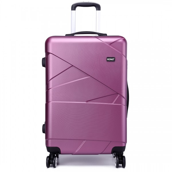 K1772L - Kono Bandage Effect Hard Shell Suitcase 3 Piece Luggage Set Purple
