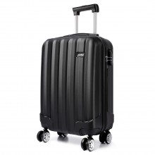 K1773L - Kono Vertical Stripe Hard Shell Suitcase 19 Inch Luggage Set Black