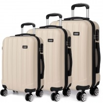 K1773L - Kono Vertical Stripe Hard Shell 3 Piece Luggage Set Beige