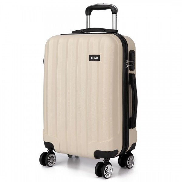 K1773L - Kono Vertical Stripe Hard Shell Suitcase 24 Inch Luggage Set Beige