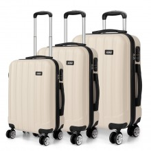 K1773L - Kono Vertical Stripe Hard Shell Suitcase 3 Piece Luggage Set Beige