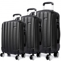 K1773L - Kono Vertical Stripe Hard Shell 3 Piece Luggage Set Black