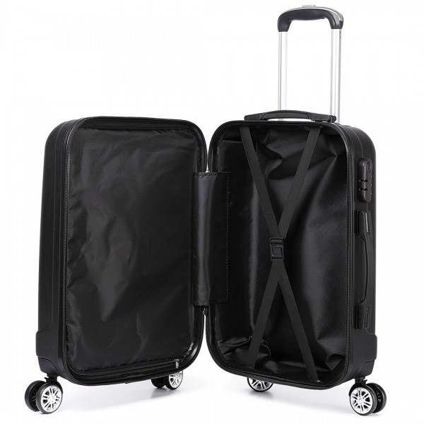 K1773L - Kono Vertical Stripe Hard Shell Suitcase 3 Piece Luggage Set Black