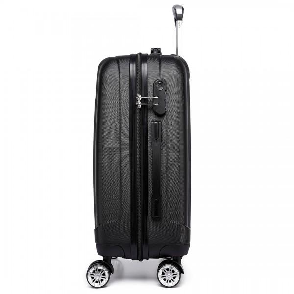 K1773L - Kono Vertical Stripe Hard Shell Suitcase 20 Inch Luggage Set Black
