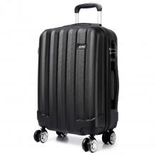 K1773L - Kono Vertical Stripe Hard Shell Suitcase 24 Inch Luggage Set Black