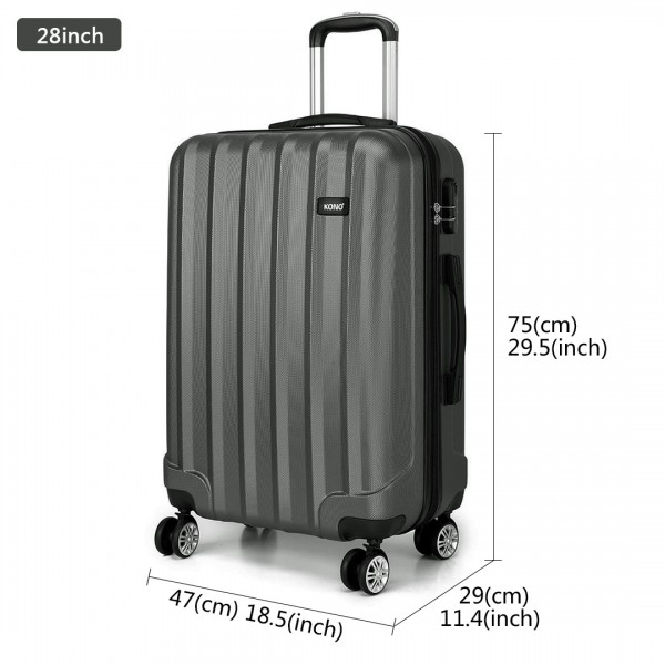 K1773L - Kono Vertical Stripe Hard Shell Suitcase 28 Inch Luggage Set Grey