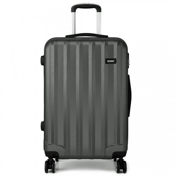 K1773L - Kono Vertical Stripe Hard Shell Suitcase 3 Piece Luggage Set Grey