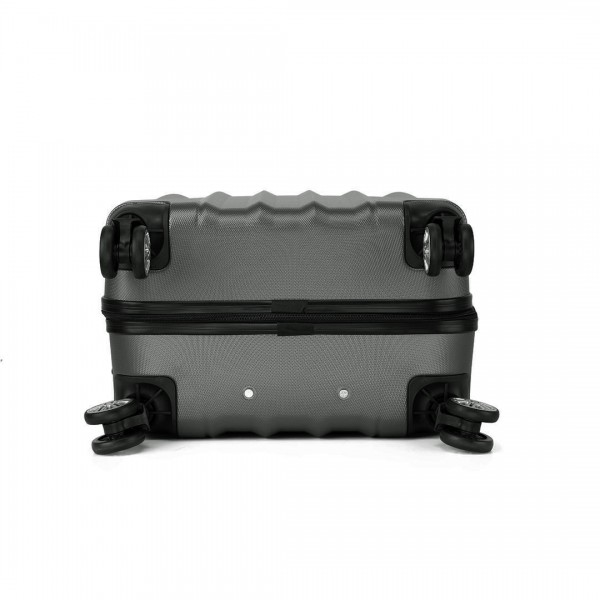 K1773L - Kono Vertical Stripe Hard Shell Suitcase 20 Inch Luggage Set Grey