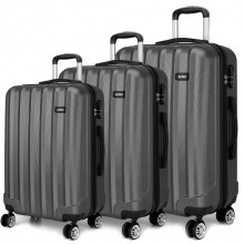K1773L - Kono Vertical Stripe Hard Shell Suitcase 3 Piece Luggage Set Grey
