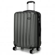 K1773L - Kono Vertical Stripe Hard Shell Walizka 20 Inch Bagaż Siwy