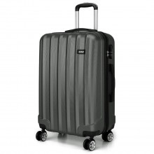 K1773L - Kono Vertical Stripe Hard Shell Suitcase 20 Inch Luggage Set Grey