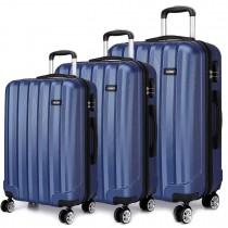 K1773L - Kono Vertical Stripe Hard Shell 3 Piece Luggage Set Navy