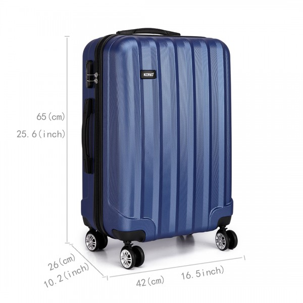 K1773L - Kono Vertical Stripe Hard Shell Suitcase 3 Piece Luggage Set Navy