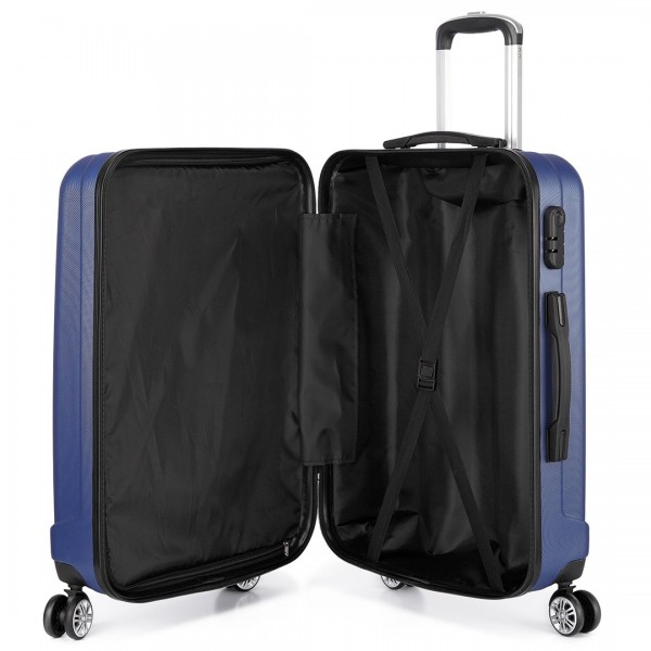 K1773L - Kono Vertical Stripe Hard Shell Suitcase 20 Inch Luggage Set Navy