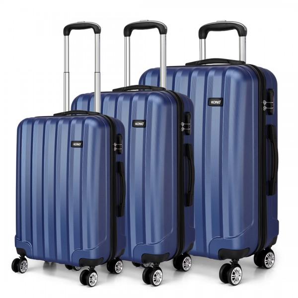 K1773L - Kono Vertical Stripe Hard Shell Suitcase 3 Piece Luggage Set Navy