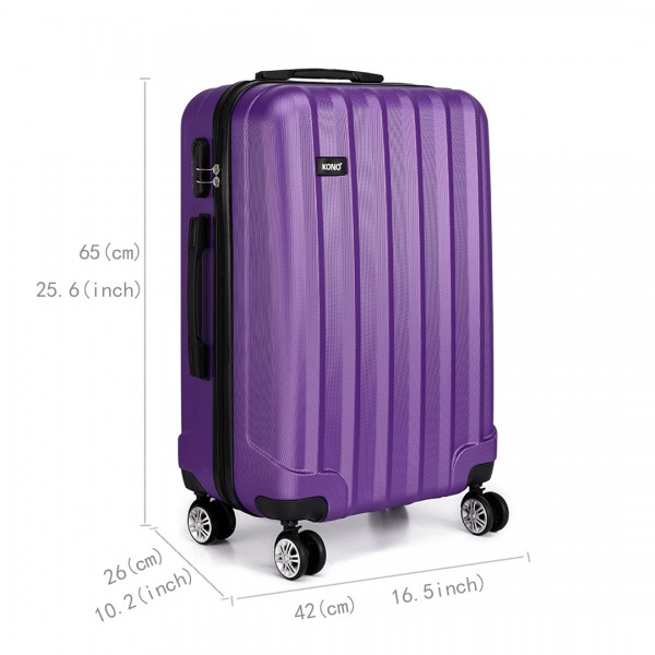 K1773L - Kono Vertical Stripe Hard Shell Suitcase 24 Inch Luggage Set Purple