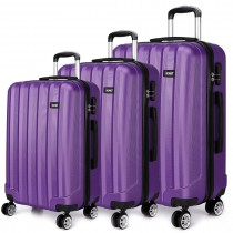 K1773L - Kono Vertical Stripe Hard Shell 3 Piece Luggage Set Purple