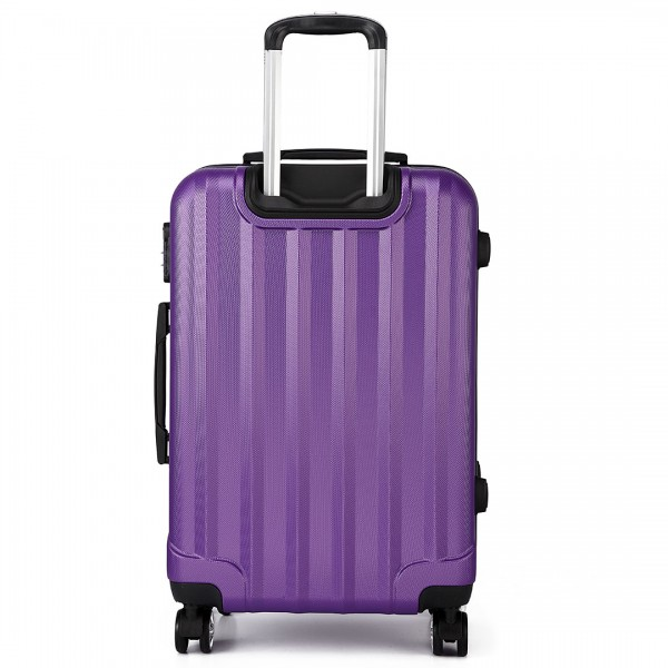 K1773L - Kono Vertical Stripe Hard Shell Suitcase 20 Inch Luggage Set Purple