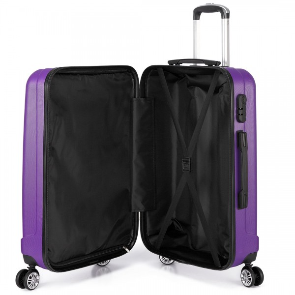 K1773L - Kono Vertical Stripe Hard Shell Suitcase 28 Inch Luggage Set Purple
