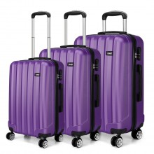 K1773L - Kono Vertical Stripe Hard Shell Suitcase 3 Piece Luggage Set Purple