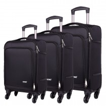 K1774L-KONO Expandable Suitcase Lightweight  4 Wheel Luggage Travel Spinner TrolleyCase black