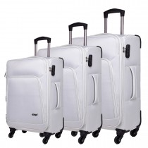 K1774L-KONO Expandable Suitcase Lightweight  4 Wheel Luggage Travel Spinner TrolleyCase white