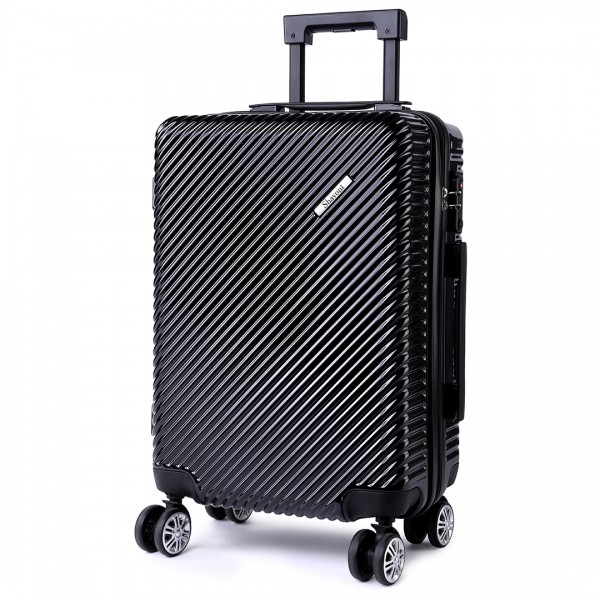 K1775L - Shavont Deluxe Hard Shell Suitcase 20'' Cabin Size Luggage Black