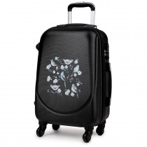 "K1776-16J BK - 20"" Hard Shell 4 Wheel Spinner Suitcase ABS Cabin Luggage Black"