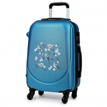 "K1776-16J NY - 20"" Hard Shell 4 Wheel Spinner Suitcase ABS Cabin Luggage Navy"