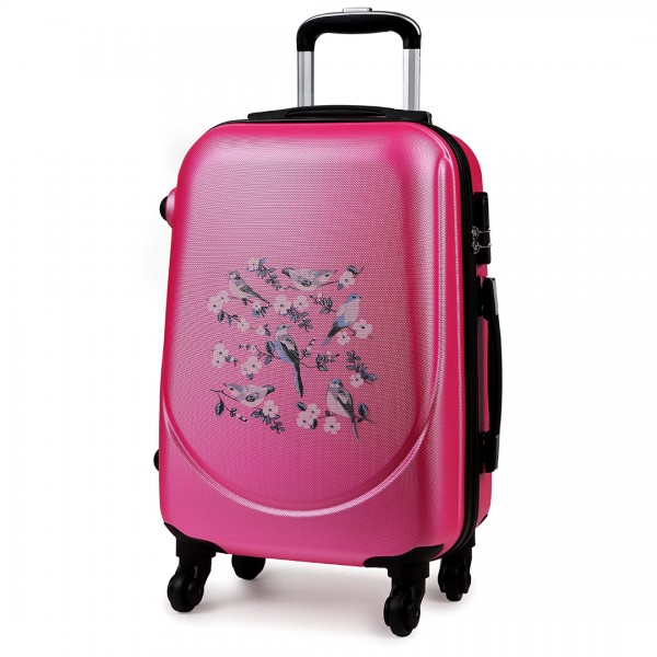 "K1776-16J PM - 20"" Hard Shell 4 Wheel Spinner Suitcase ABS Cabin Luggage Plum"
