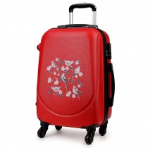 "K1776-16J RD - 20"" Hard Shell 4 Wheel Spinner Suitcase ABS Cabin Luggage Red"