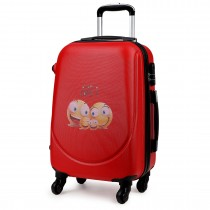 "K1776-SF RD - 20"" Hard Shell 4 Wheel Spinner Suitcase ABS Cabin Luggage Red"