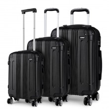 K1777 - Kono 19-24-28 Inch ABS Hard Shell Suitcase 3 Pieces Set Luggage - Black