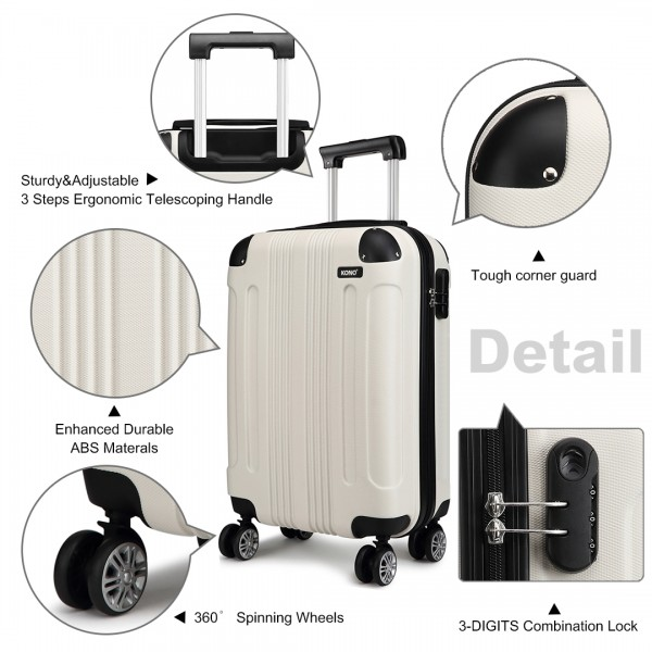 K1777 - Kono 19 Inch ABS Hard Shell Suitcase Luggage - Beige