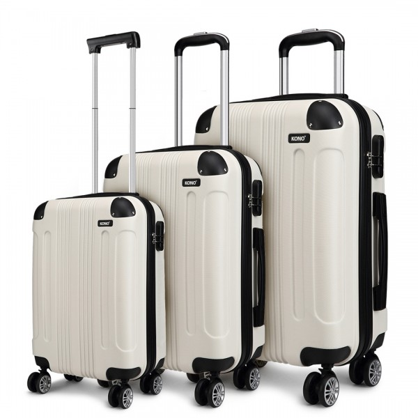 K1777 - Kono 19-24-28 Inch ABS Hard Shell Suitcase 3 Pieces Set Luggage - Beige