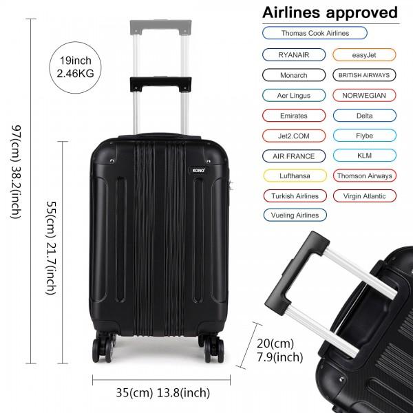 K1777 - Kono 19 Inch ABS Hard Shell Suitcase Luggage - Black