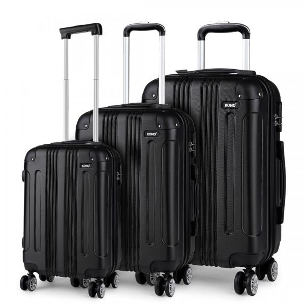 K1777 - Kono 19-24-28 Inch ABS Hard Shell Suitcase 3 Pieces Set Luggage - Black