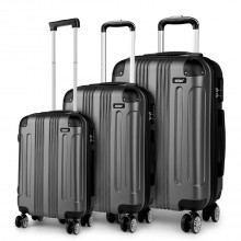 K1777 - Kono 19-24-28 Inch ABS Hard Shell Suitcase 3 Pieces Set Luggage - Grey
