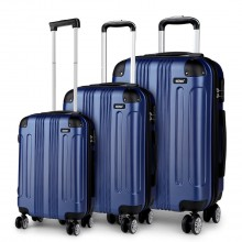 K1777 - Kono 19-24-28 Inch ABS Hard Shell Suitcase 3 Pieces Set Luggage - Navy
