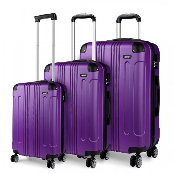 K1777 - Kono 19-24-28 Inch ABS Hard Shell Suitcase 3 Pieces Set Luggage - Purple