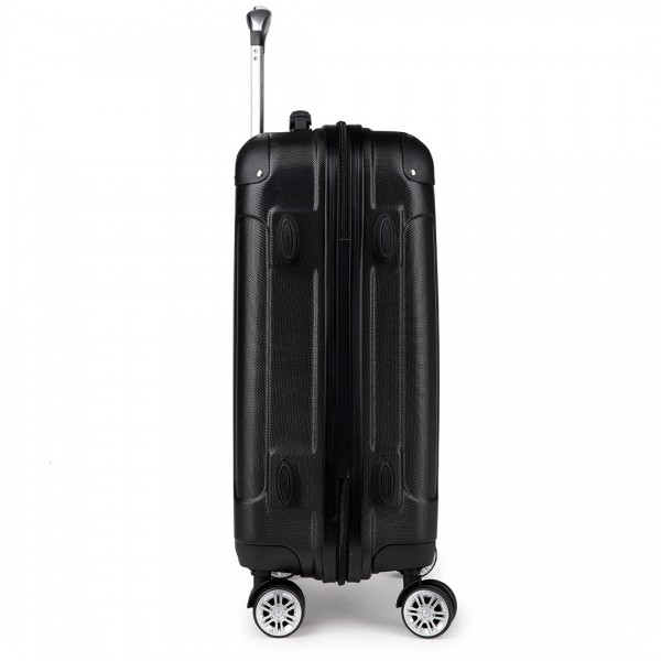 "K1777-28"" Kono ABS Hard Shell Suitcase Luggage Set Black"
