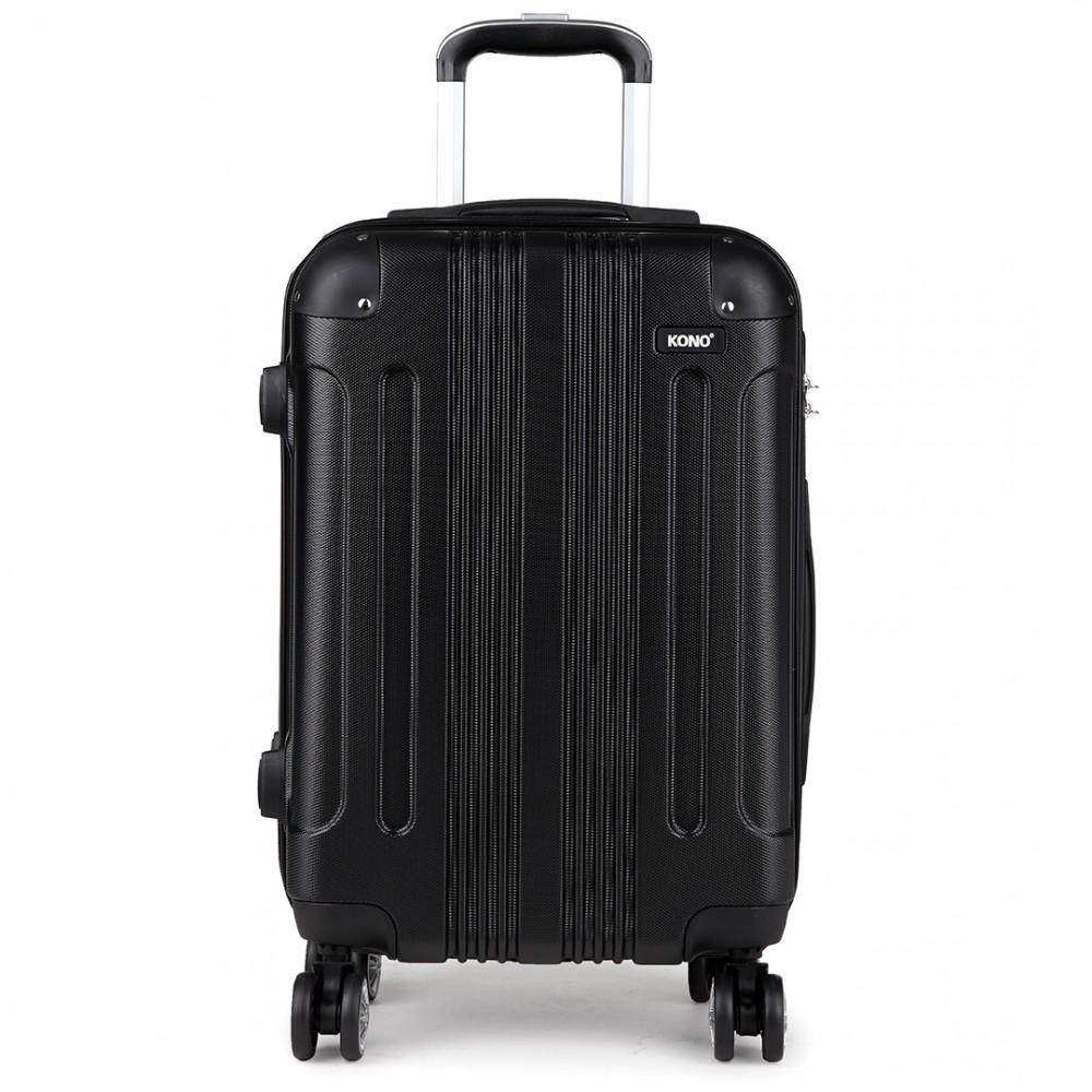 k1777 bk 20 24 28 kono abs hard shell suitcase 3 piece. Black Bedroom Furniture Sets. Home Design Ideas