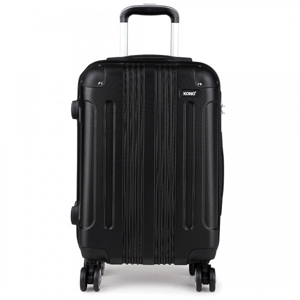 "K1777 BK - 20-24-28"" Kono ABS Hard Shell Suitcase 3 Piece Luggage Set Black"