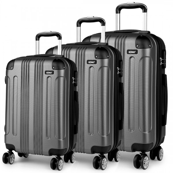 "K1777 GY - 20-24-28"" Kono ABS Hard Shell Suitcase 3 Piece Luggage Set Grey"
