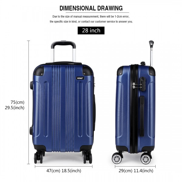 "K1777 NY - 20-24-28"" Kono ABS Hard Shell Suitcase 3 Piece Luggage Set Navy"