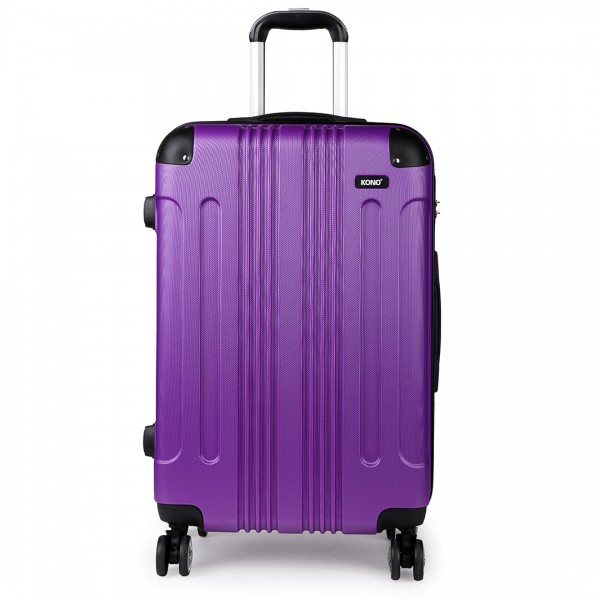 "K1777 PE - 20-24-28"" Kono ABS Hard Shell Suitcase 3 Piece Luggage Set Purple"