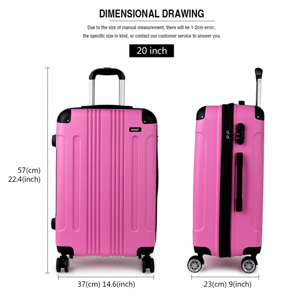 "K1777 PK - 20-24-28"" Kono ABS Hard Shell Suitcase 3 Piece Luggage Set Pink"