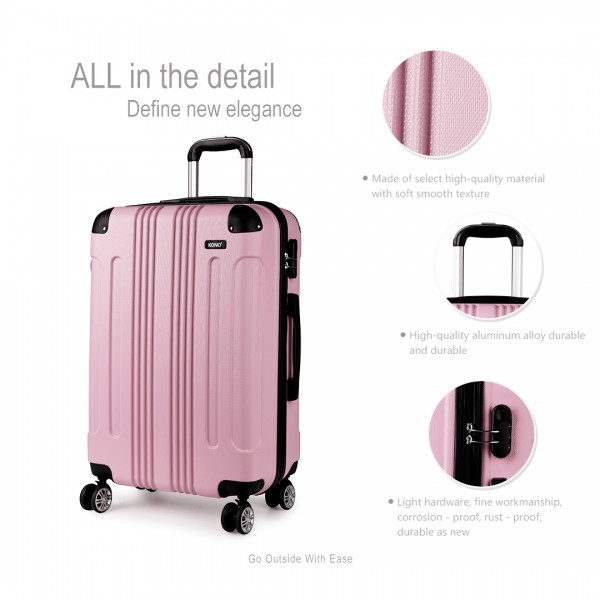 K1777 - Kono 20-24-28 Inch ABS Hard Shell Suitcase 3 Pieces Set Luggage - Pink