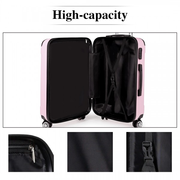 "K1777-28"" Kono ABS Hard Shell Suitcase Luggage Set Pink"