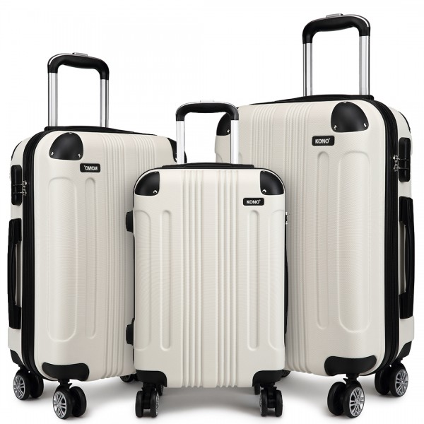 K1777 - Kono 20-24-28 Inch ABS Hard Shell Suitcase 3 Pieces Set Luggage - Beige